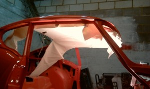 Loose hanging GT6 roof lining